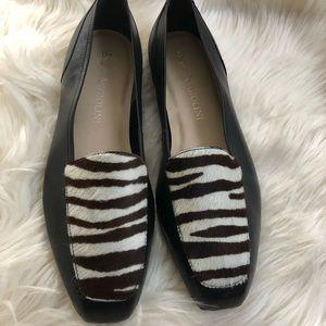 Enzo Angiolini zebra calf hair black loafers